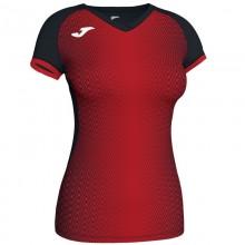 Camiseta Joma Supernova Negro Rojo Mujer